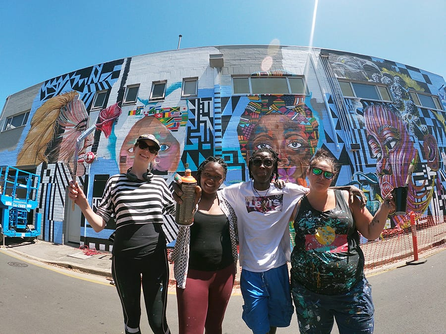 SANAA artists with their street art, Percy Court, Adelaide