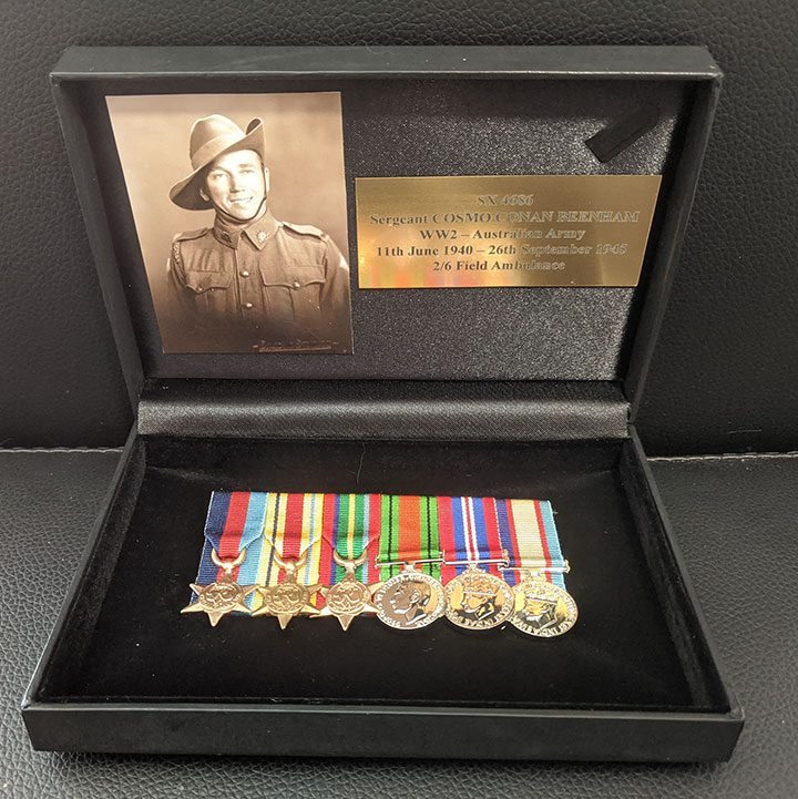 Black satin vinyl medal display boxes, Tania Buck Medals and Frames