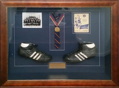Football boots Tania Buck sporting memorabilia framing Adelaide