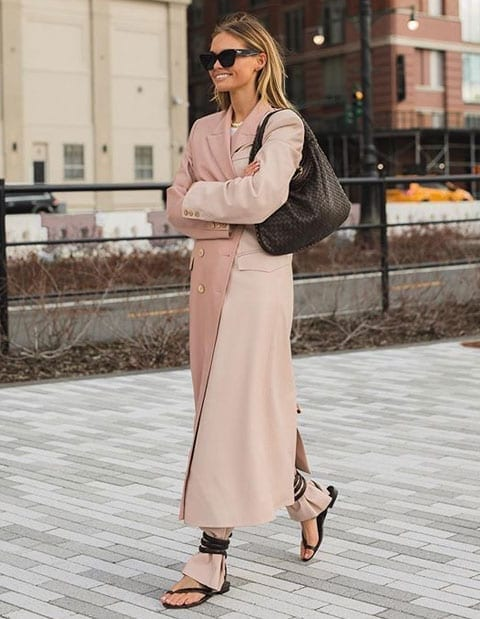 Stunning long pink trench