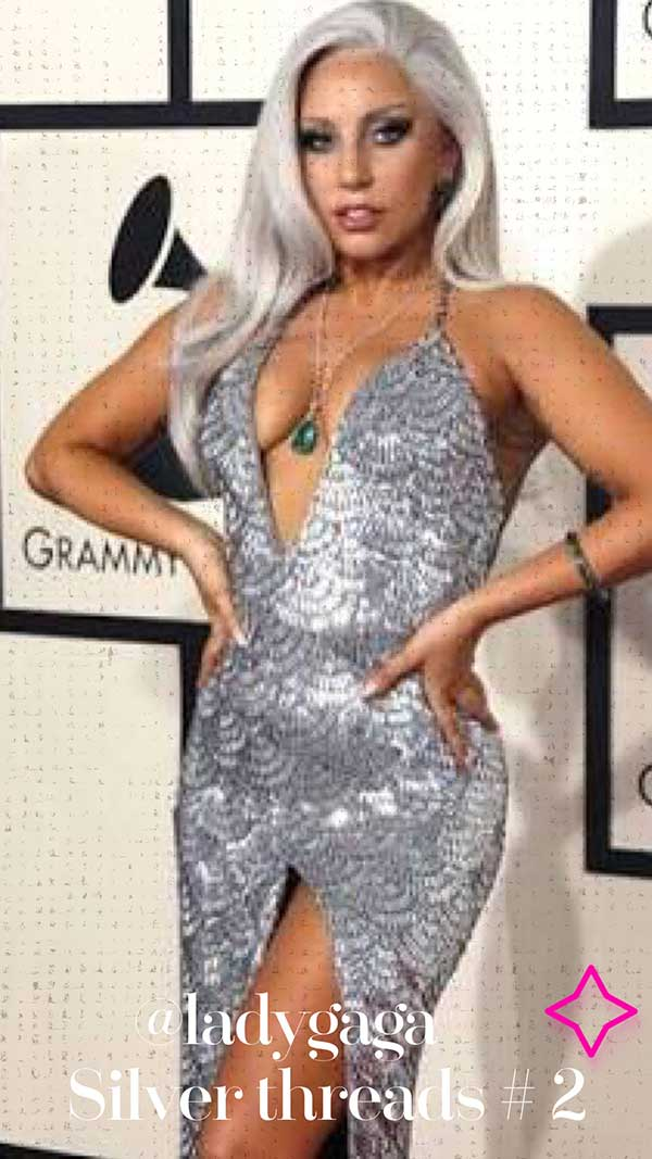 @ladygaga silver threads grey hair inspo