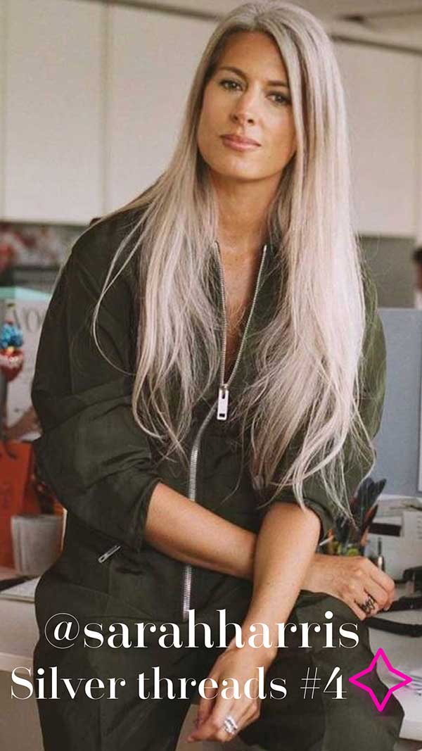 @sararharris silver threads grey hair inspo