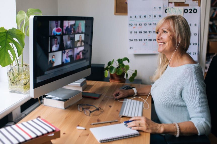 Woman confidently presenting on Zoom