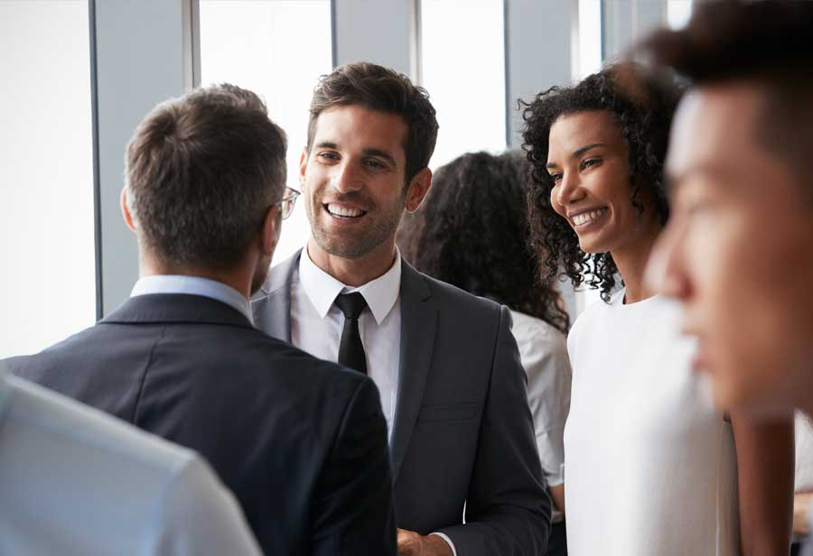 Business people at networking event
