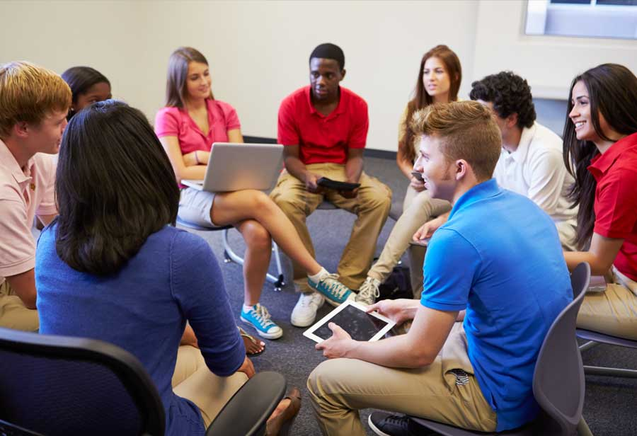 Young people in a group workshop