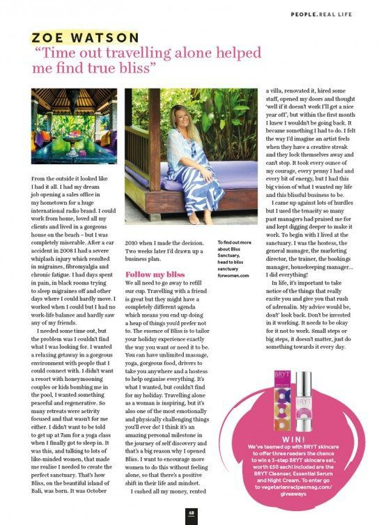 """Veggie Magazine: Zoë Watson """"Time out travelling alone helped me find true bliss"""""""