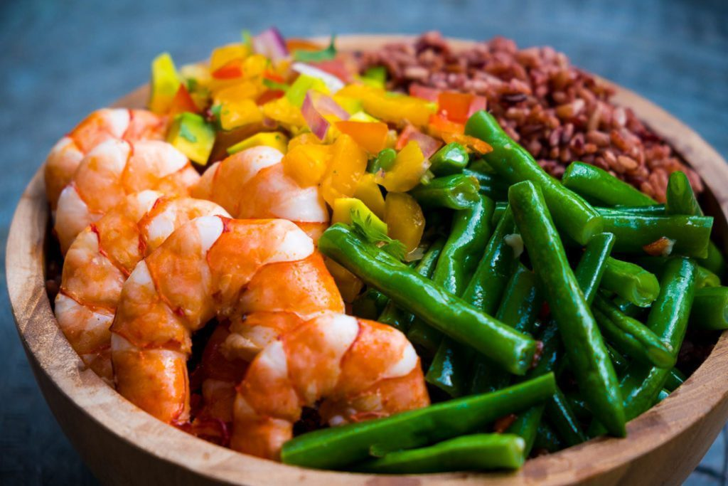 Delicious seafood and vegetables -  food is unlimited healthy and yummy at our Bliss Bali yoga and spa retreat