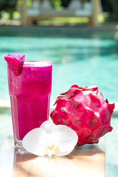 Yummy pink smoothie at Bliss Wellbeing retreat - enjoy unlimited fresh food including tropical smoothies and juices