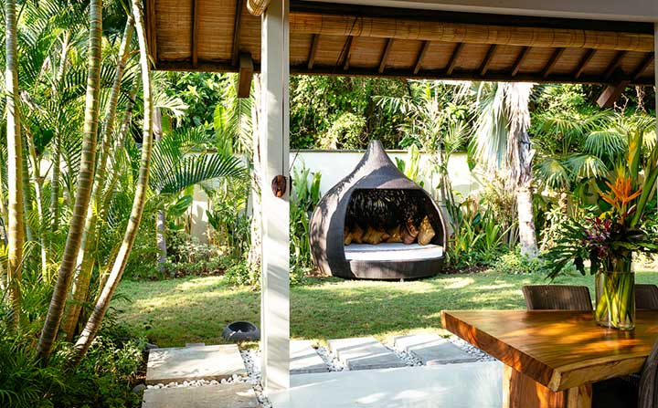 Our stunning Seminyak sanctuary retreat  relax and unwind in daybeds in outdoor settings