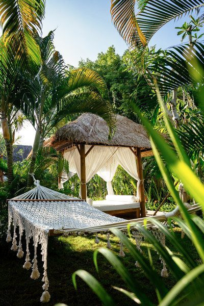 Bali retreat, Seminyak, Bliss Sanctuary for Women gorgeous gardens with hammock and chill out areas to relax and unwind
