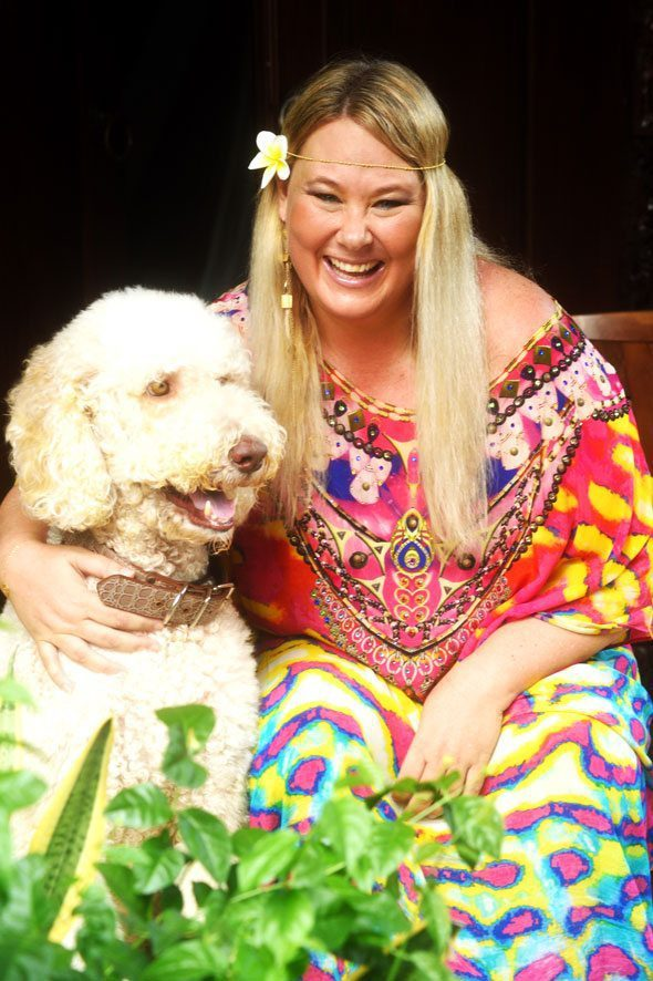 Zoë Watson - Founder of Bliss Sanctuary for Women - Health & Relaxation Retreat in Bali - with her beloved dog Bruce