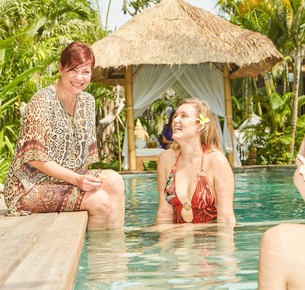 Women next to the pool at our Bali Retreat Sanctuary