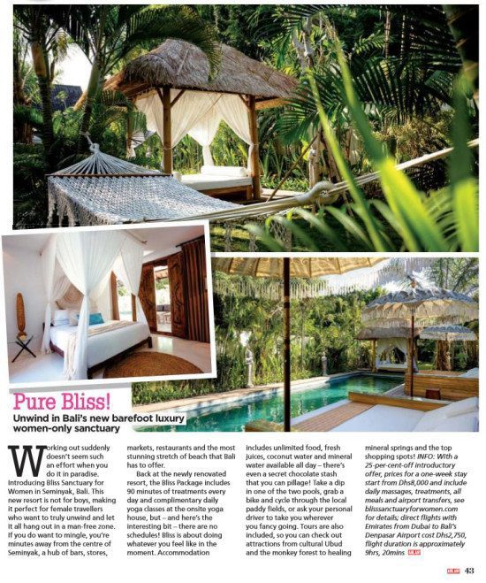 Ahlan! Magazine: Pure Bliss! Unwind in Bali's New barefoot luxury women-only sanctuary