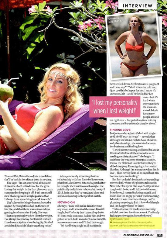 """Closer: Josie Gibson: I get """"fat fear"""" and weight myself every day"""