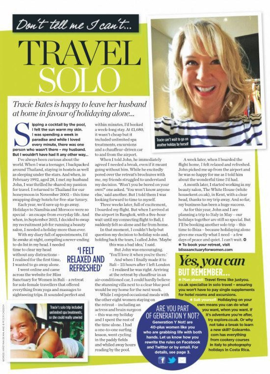 Woman Magazine: Don't tell me I can't... travel solo