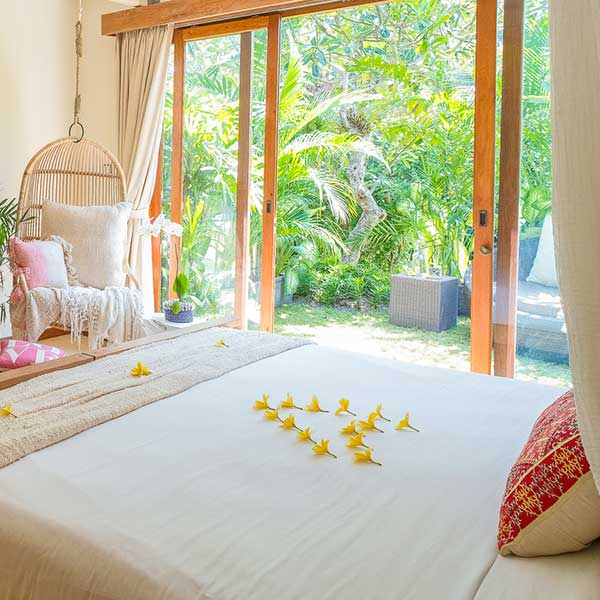 Bedroom with lush green garden outlook in Bali retreat, Bliss Retreat Room, Bliss Sanctuary For Women, Canggu