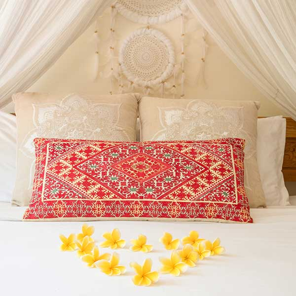Gorgeous bed with flowers in Bali retreat, Bliss Retreat Room, Bliss Sanctuary For Women, Canggu