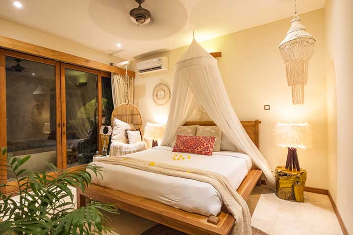 Beautiful bedroom with mosquito net at our beautiful Bliss Sanctuary, Canggu Bali