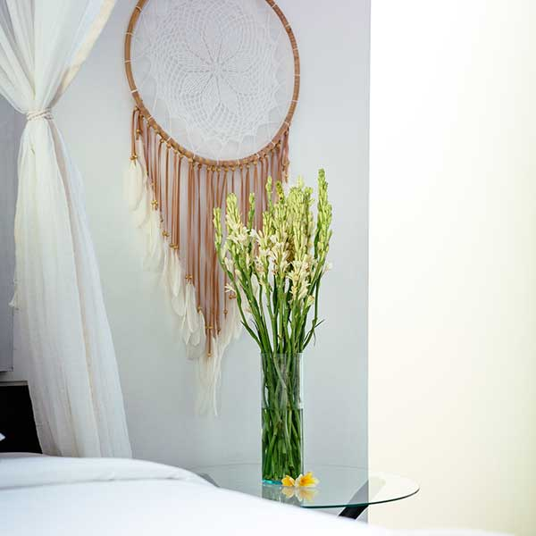 Beautifully decorated luxury bedroom in Bali retreat, King Deluxe Pool Room with Loft, Bliss Sanctuary For Women, Seminyak