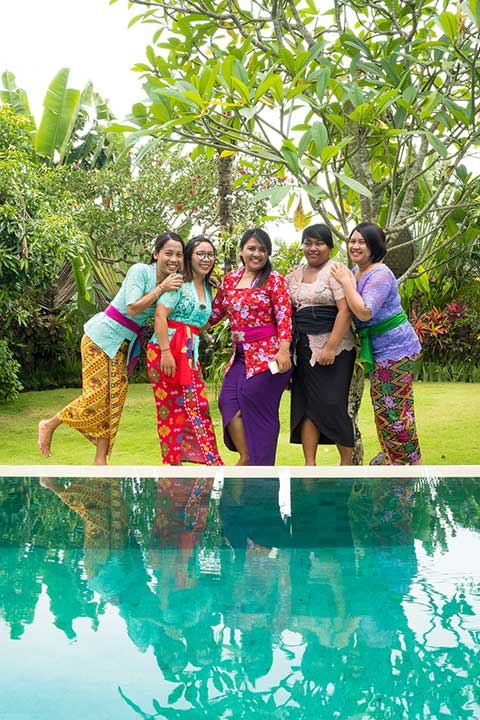 Some of our beautiful team at Bliss Bali health & wellbeing retreat