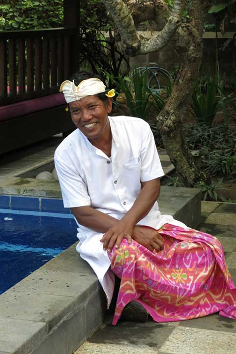 Komang is our gardener, security and general caretaker - one of the many smiling faces you will meet at your wellness retreat