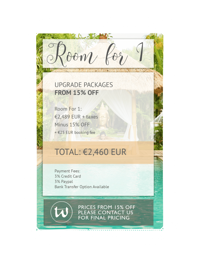 Room for 1 - Upgrade Package 15% off EUR