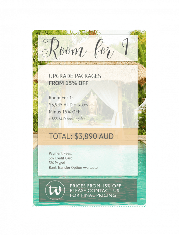 Room for 1 - Upgrade Package 15% off AUD