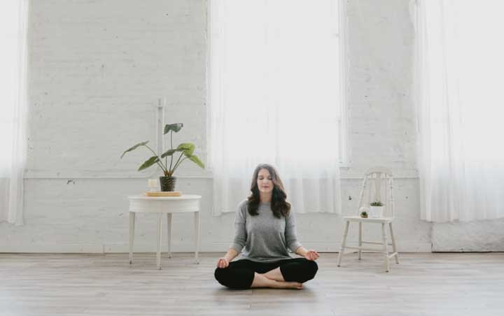 Catherine Beard practicing mindfulness and relaxation