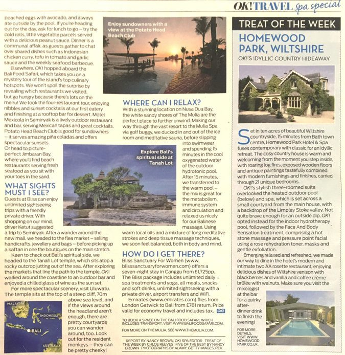 magazine clipping - Bali beach club and Tanah Lot sightseeing locations