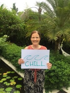 Our lovely Bliss Canggu guest sums up her Bliss experience as 'Chill'