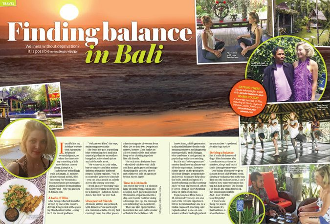 magazine clipping - Bali beach at sunset, inset with smaller images of Bali retreat activities