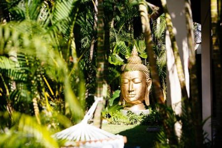 Embracing nature Bali retreat buddha statue
