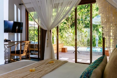 Gorgeous bedroom overlooking the pool Bali retreat