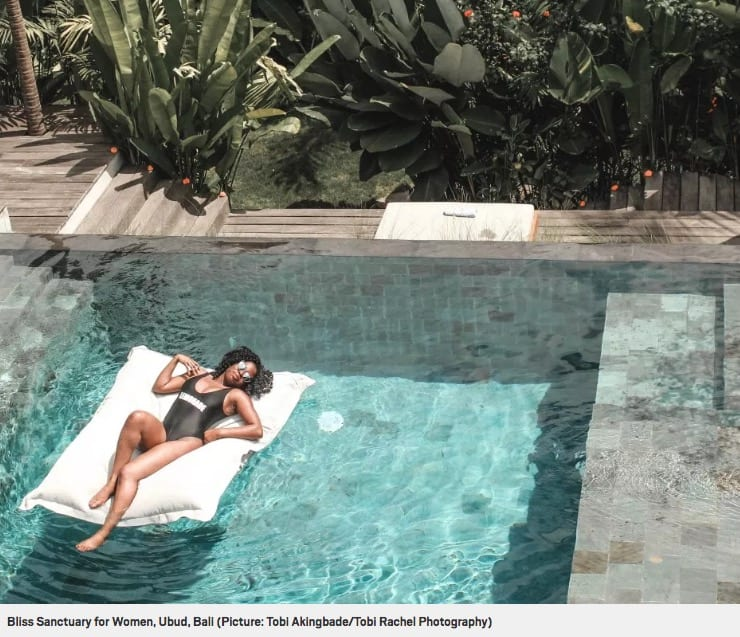 Relax in the pool, Metro online article Bliss Bali retreat