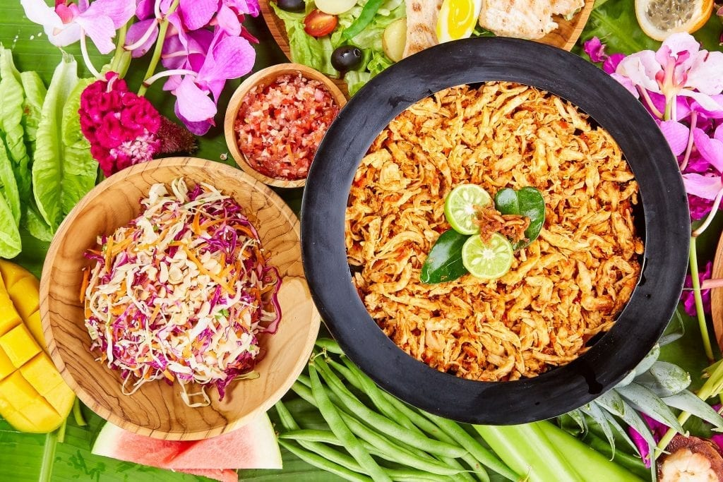 Asian coleslaw & Shredded chicken with chilli and lime