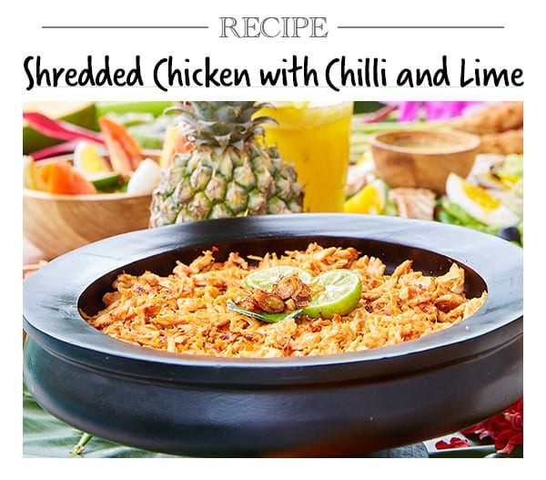 Bliss retreat recipe - Shredded Chicken with Chilli and Lime