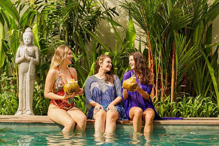 Bali Bliss Sanctuary girls relaxing by pool