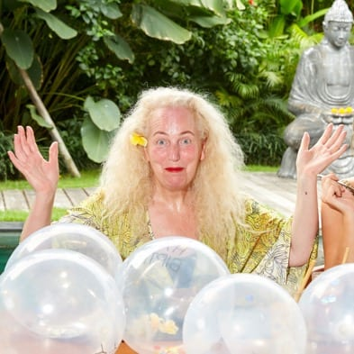 Mum Debbie Bright, happy guest at Bliss Bali retreat with daughters Lydia Bright and Georgia Bright