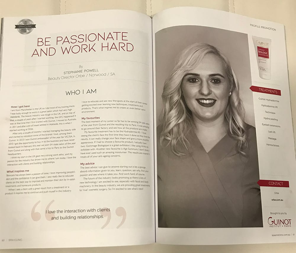 Spa+Clinic Magazine features Orbe's Steph Powell as an icon of the beauty industry